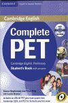 COMPLETE PET FOR SPANISH SPEAKERS STUDENT'S BOOK WITH ANSWERS WITH CD-ROM