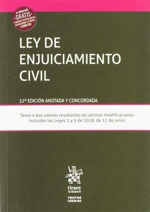 LEY DE ENJUICIAMIENTO CIVIL 32º EDICIÓN ANOTADA Y CONCORDADA